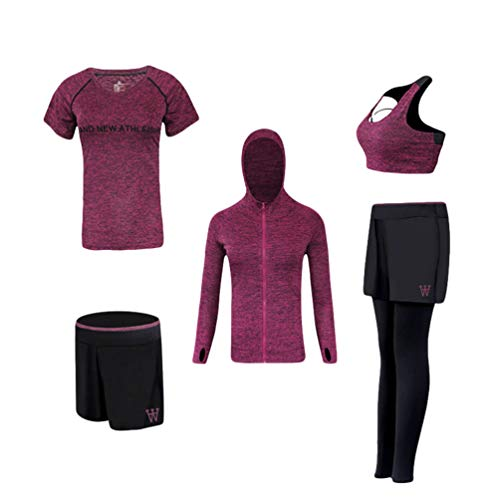 Kuncg Damen Fitness Outfit Yoga Kleidung Anzug Set Sportbekleidung Jogging Trainingsanzug (Fuchsie(5Pcs), Asien 2XL)