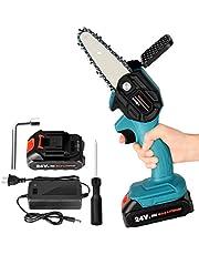 Mini-kettingzaag, 4 inch accu-kettingzaag, snoeischaar, kettingzaag, handheld mini-kettingzaag met accu en oplader, eenhands-elektrische zaag, tuinhoutbewerking voor tuinboom, tak, houtzagen