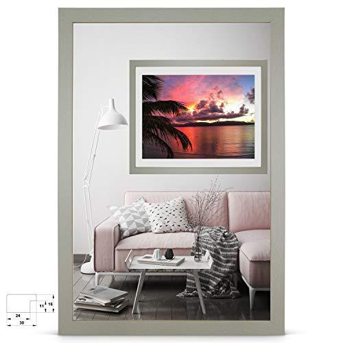 rahmengalerie24 Bilderrahmen 40x60 cm Rahmen Grau Holz Acrylglas ohne Passepartout Portraitrahmen Fotorahmen Wechselrahmen für Foto oder Bilder MDF Dekorahmen ohne Bild Alice