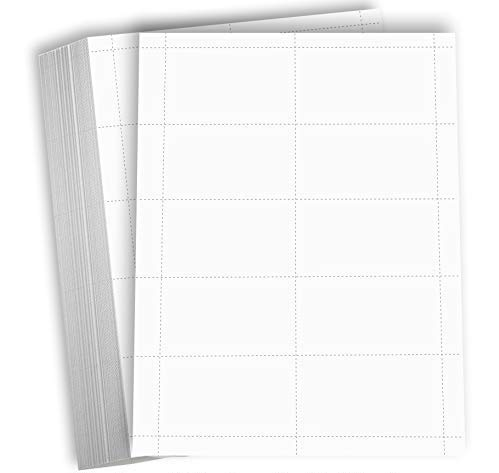 Hamilco Blank Business Cards Card Stock Paper – White Mini Note Index Perforated Cardstock for Printer – Heavy Weight 80 lb 3 1/2 x 2' – 100 Sheets 1000 Cards