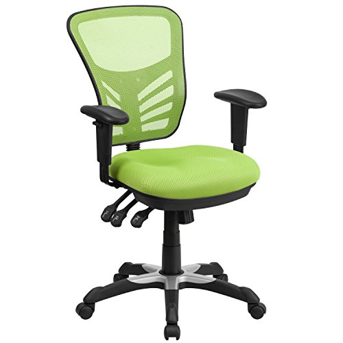 Flash Furniture Mid-Back Green Mesh Multifunction Executive Swivel Ergonomic Office Chair with Adjustable Arms - HL-0001-GN-GG