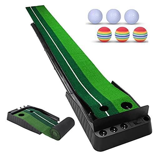 Alfombrilla de Golf Portátil, el Green de Golf con Placa Deflectora y el Sistema de Retorno Automático de Bolas Tienen 6 Bolas de Bonificación, Entrenador de Putt de Golf, Regalos de Golf