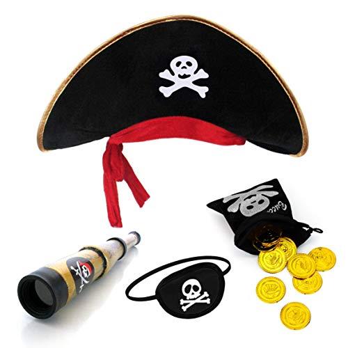 papapanda Piratenhut Augenklappe Karibik Fernrohr Gold Münzen Schatzbeutel für Kinder