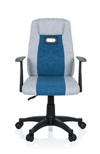 hjh OFFICE 670931 Kinder Schreibtischstuhl KIDDY EXTRA Stoff Grau-Blau Drehstuhl Ergonomisch mit Armlehne