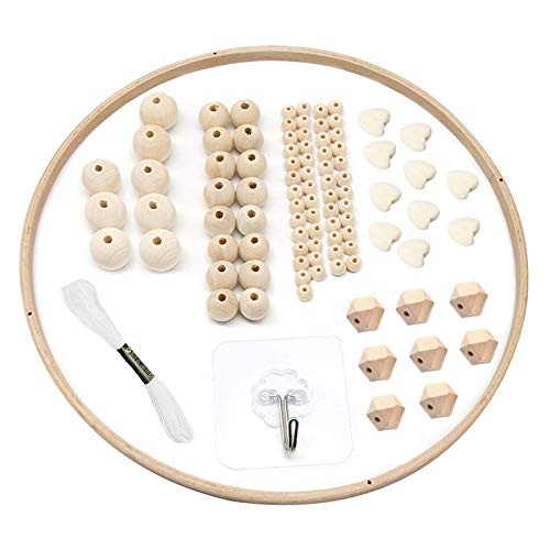 DIY Holz Mobilen Rahmen,Hölzerne Perlen Windspiele,Bett Dekoration Spielzeug,Mobile Rahmen Holz,Natürliche Handwerk Holz Ringe,Kinder Bettglocke,Kinderzimmer Hängende Bettglocke Mobile für Babybett