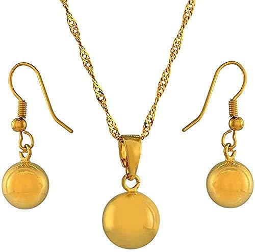 LBBYMX Co.,ltd Collar con Bola Redonda Colgante Cadena aretes Conjuntos de Joyas Collar Conjuntos de Perlas Doradas para Mujer Largo del Collar Cadena Fina 60 cm Collar