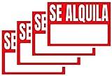 4 Carteles de VINILO 'SE ALQUILA' Personalizado   Cartel Oferta Se Alquila   Incluya su teléfono   Vinilo con Adhesivo 1ª Calidad (50X25 - 4 UNIDADES)
