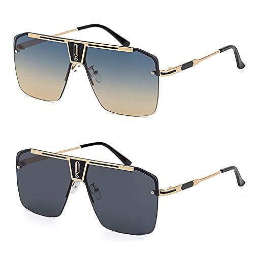 SHEEN KELLY Gafas de sol retro de gran tamaño para hombres y mujeres Gafas de sol cuadradas sin montura Gafas de sol con parte superior plana Vintage