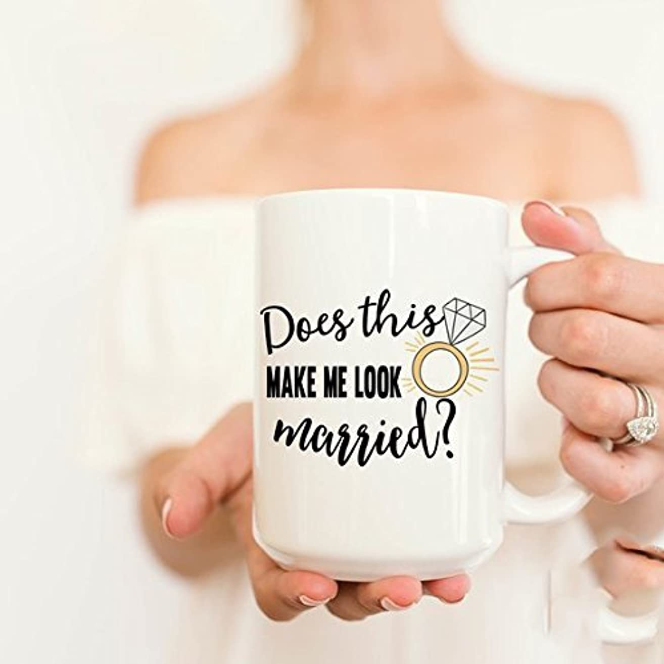 Customized White Mug, Does this make me look married Mug, Coffee Mug, Engaged Gift, Gift for Her
