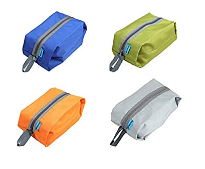 Tumecos Large Waterproof Portable Travel Organizer Toiletry Dopp Kit Space Saving Shoe Bag Pouch (4 Pack)