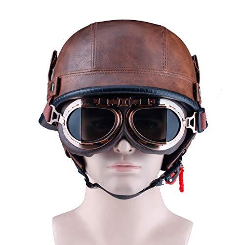 CHAOYUE Casco de Moto de Piel Abierta de Cuero marrón Retro, Medio Casco con Gafas, Four Seasons, Aprobado Dot, Adultos, Hombres y Mujeres (55-64 cm)