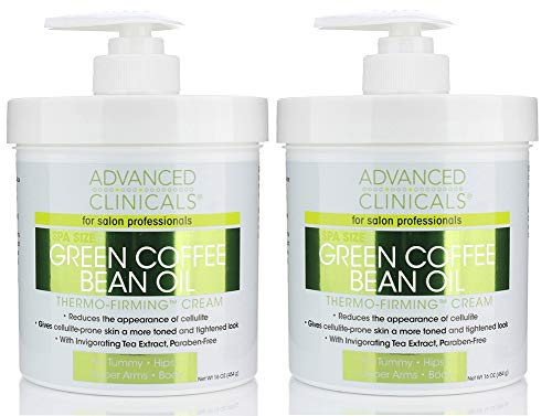 Green Coffee Bean Slimming Cream Moisturizing Anti-Cellulite Cream and Firming Lotion for Legs, Arms, and Body Antioxidant-Rich, Anti-Aging Tightening Cream by Advanced Clinicals (Two - 16oz)
