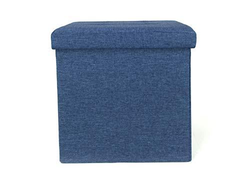 BIANCHERIAWEB SONNI CALDI E PROFONDI CON PRODOTTI DI COLOMBI Pouf Contenitore Imbottito Pieghevole Modello Liner Colore Blue Jeans, 38 x 38 x 38 cm