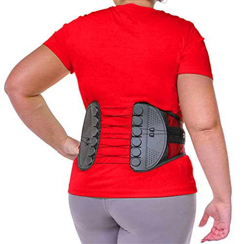 BraceAbility Spine Sport Lower Back Brace - Working Out, Exercise, Run, Kayak, Golf, Gym, Manual Labor, Tennis, Athletic Lumbar Corset for Active Women and Men (2XL)