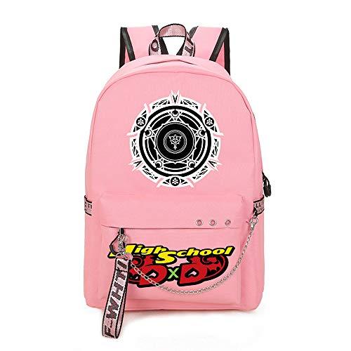 High School DxD Federmäppchen Cartoon Bilder Daypack Soft-Rucksack Wasserdicht Schulranzen for Jungen und Mädchen Unisex (Color : Pink01, Size : 30 X 13 X 43cm)