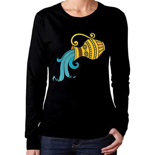 U are Friends T-Shirt de Sport à Manches Longues pour Fille Aquarius pour Femme,décontracté(M,Noir)