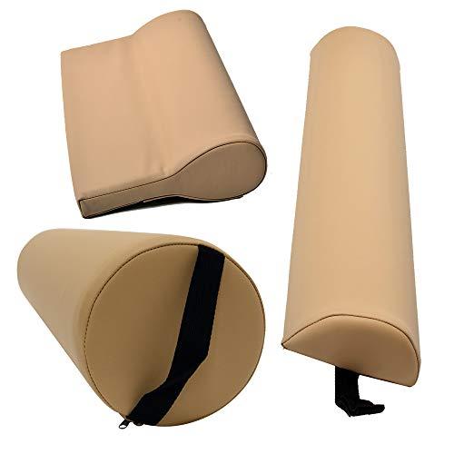 Massagezubehör Set 3 bestehend aus 1x Vollrolle Knierolle mit Griff 1x Lagerungsrolle Halbrolle und 1x Nackenkissen Kopfstütze für die Massageliege wasserabweisend in Mokka Beige
