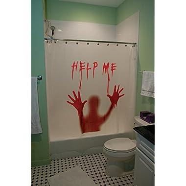 Morbid Enterprises Help Me Bloody Shower Curtain Halloween Decor, Multi, One Size