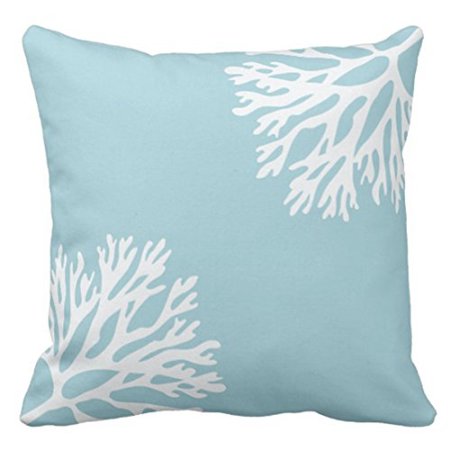 Emvency Throw Pillow Cover Hue Sea Coral Silhouettes Blue Light Decorative Pillow Case Home Decor Square 18 x 18 Inch Pillowcase
