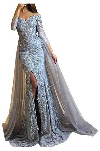 Victory Bridal Damen Fashion Etui Mermaid Abendkleider Lang Spitze Ballkleider Fest Hochzeitskleider mit Schleppe-38 Silber