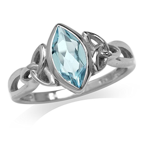 Silvershake 1.3ct. Genuine Blue Topaz White Gold Plated 925 Sterling Silver Triquetra Celtic Knot Solitaire Ring Size 12