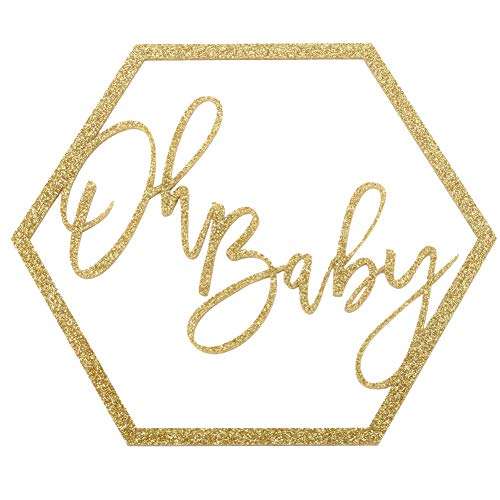 Koyal Wholesale Glitter Acrylic Sign, Wedding Display, Party Banner, Event Decorations for Wedding Engagement Bridal Shower Baby Shower Birthday Party Dessert Bar (Oh Baby)