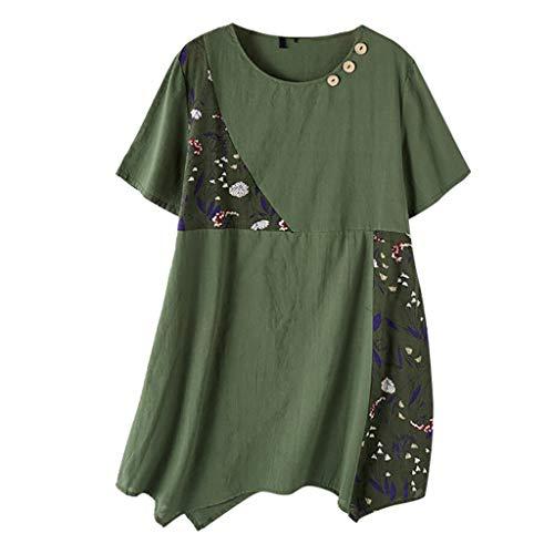 Damen Mädchen Bluse O-Ausschnit Langarm Shirt Leinen Übergröße Print Einfarbig...