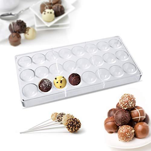 Janolia Molde de Chocolate, Molde de Bombones, con Forma de Medio Redondo y Materal Policarbonato de Grado Alimenticio, Herramienta de Dulce Hum para Chocolate, Caramelo Duro, Cubitos