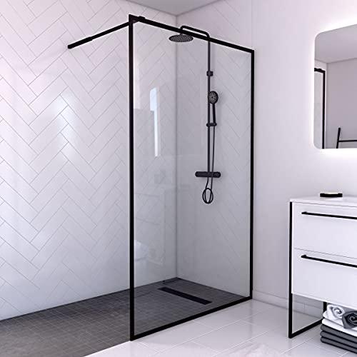 MARWELL CITY WALK IN Duschwand 120 x 200 cm - Duschabtrennung mit barrierefreien Einstieg - 6mm starkes Einscheibensicherheitsglas - inklusive Halterungsstange - im trendigen matt schwarz