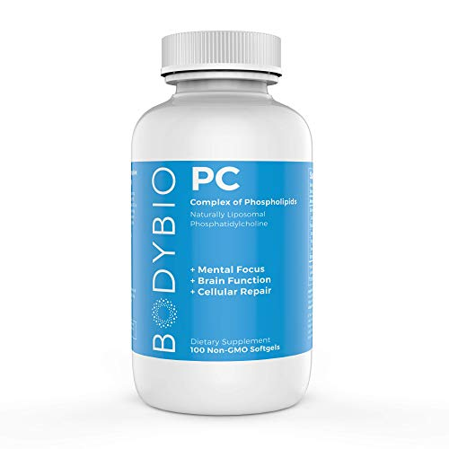 BodyBio - PC Phosphatidylcholine, Liposomal Phospholipid Complex for Cell Health - Enhance Brain Function, Focus, Memory & Clarity - Microbiome Support - Science & Research Backed - 100 Softgels -  SP600