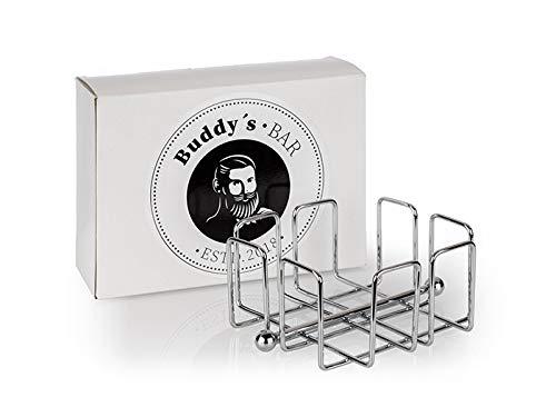 Buddy´s Bar - Servilletero dispensador de servilletas para 50 servilletas de cóctel de metal cromado, dispensador de servilletas para servilletas de cóctel de 14 x 14 cm, 6,5 cm de altura