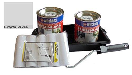 2 x 750 ml Wilckens Fliesenlack LICHTGRAU RAL 7035 inkl. Farbrolle für 16 qm