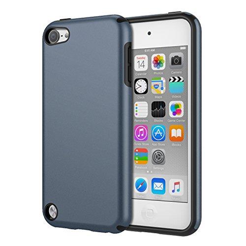 MoKo Hülle Kompatibel mit iPod Touch 2019/iPod Touch 7/ iPod Touch 5/6, 2 in 1 Stoßdämpfende TPU Stoßstange Ultra Slim Schutzhülle mit Hardcover für iPod Touch 6./5. Generation, Blau