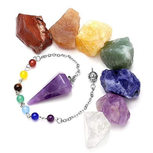 JSDDE 7 piedras crudas de chakras, cristales de roca áspera