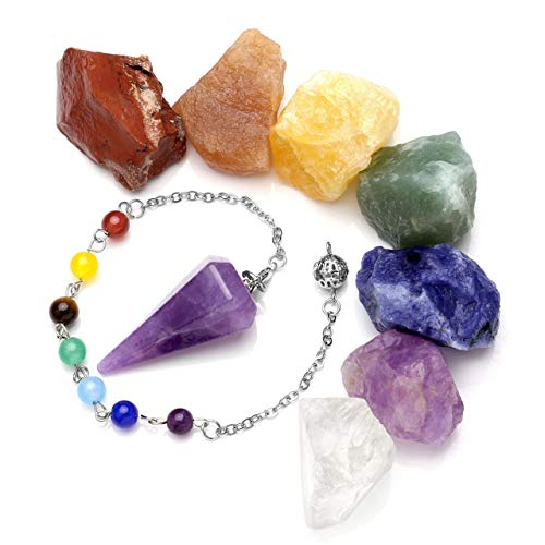 Aatm Natural Healing Amethyst Gemstone Round Pointed Reiki Chakra Ball Pendulum for Enlightenment and Gift
