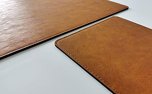 Vade de escritorio con alfombrilla de ratón en piel Lora 70 x 50 marrón mostaza