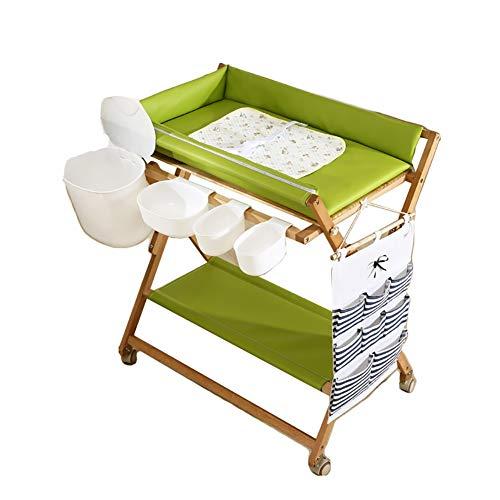 Wickelkommoden Massivholz-Windel wechseln Station - faltbares Baby-Wash-Kolben Artifact, Babypflege Tabelle Touch-Table Bath Tabelle (Color : Green)