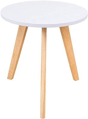 コーヒーテーブルサイドウッドヨーロピアンスタイルリビングルームモダンシンプルラウンドテーブル (色 : B, サイズ さいず : 50cm*50cm)