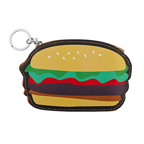 Lux Accessories Novelty Hamburger Burger Bun Junk Food Coin Purse Keychain