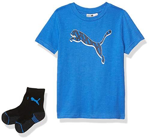 PUMA Jungen T-Shirt & Crew Sock Set T-Shirt, Palace Blue Heather, 4 Jahre
