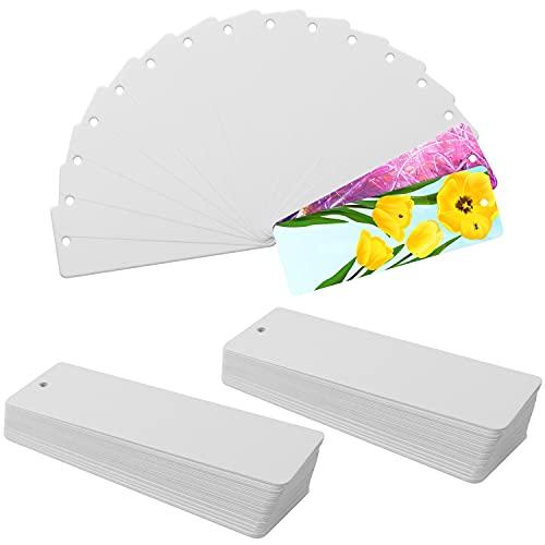 Belle Vous Segnalibro Carta Bianca (Set da 300) - 15 x 5 cm - Segnalibri Particolari con Foro per Nappa - Segnalibri Personalizzabili per Lettura, Fai da Te e Regali - Segnalibro Bambini, Uomo e Donna