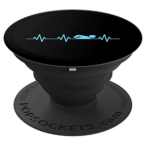 Swimmer Heartbeat Funny Swimmer Christmas Gift PopSockets Grip and Stand for Phones and Tablets