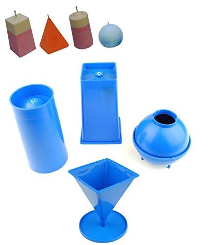 Proops Set von 4Kerzengießformen, 1x Pyramide, 1x Säule, 1x rechteckig konisch, 1x Kugel (S7566). Versandkostenfrei innerhalb UK