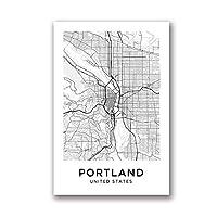 Xuetaozz ポートランドマップキャンバスアートプリントポスターシティマップポートランドストリートマップキャンバスペインティングブラックホワイトピクチャーホームルームウォールアートデコレーション-40x60cmフレームなし
