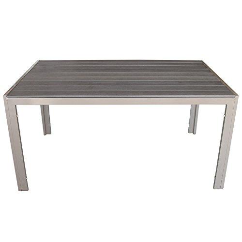 Multistore 2002 Gartentisch, Polywood Tischplatte Mokka, Aluminiumrahmen Champagner, 150x90cm - Terrassentisch Terrassenmöbel Gartenmöbel Esszimmertisch Esstisch