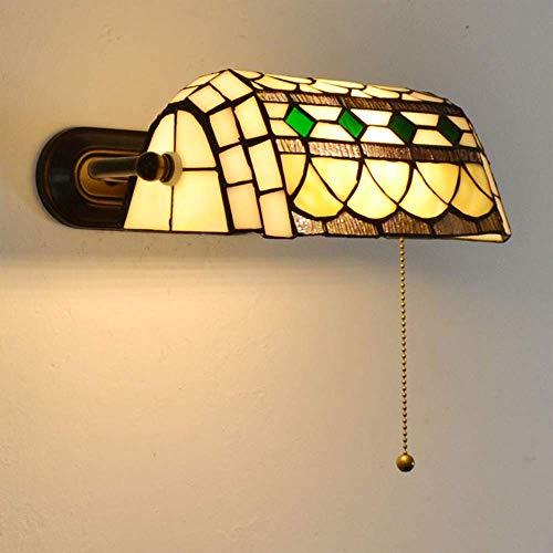 Aplique de pared, Lámparas de pared estilo Tiffany, Lámpara de pared retro americana con pantalla de vidrio y lámpara de noche para dormitorio con interruptor de cordón, Aplique de pared ajustable pa