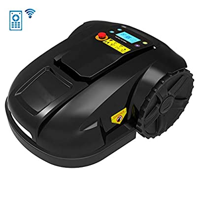 LCD Smart WiFi Robotic Lawn Mowers, Lithium-Ion Robot Lawn Mower, Automatic Charging Rain Protection Obstacle Avoidance, Timing, Anti-Theft, Electric Lawnmower for Garden 700M²,A,4.4Ah