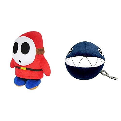 "Little Buddy Super Mario All Star Collection 1591 Shy Guy Stuffed Plush, 6.5"",Multi-Colored & Buddy Super Mario All Star Collection 1592 Chain Chomp Stuffed Plush, 5"",Multicolor"