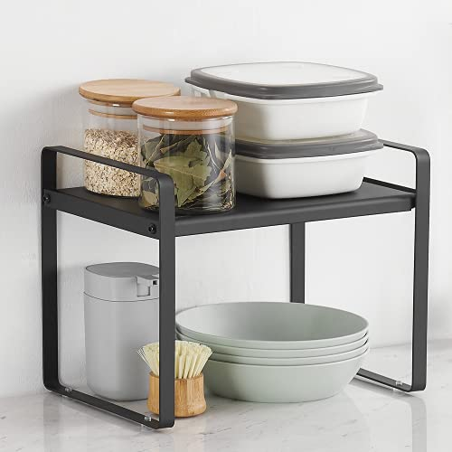 "TOPFEN Counter Organizer Shelf 13"" Countertop Organizer Cabinet Pantry Shelf Kitchen Organization Cupboard Stand Spice Rack Storage Shelves Bathroom Shelf Black"