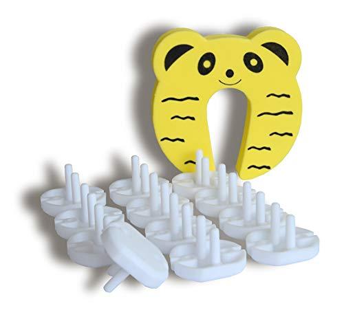 Sun Planet Seguridad Infantil - Set 12 Cubiertas de Enchufe para Proteger Bebés y Niños - Fácil de Instalar/Quitar - Sin Herramientas Ni Adhesivos - Extra: Protector de Seguridad para Puerta